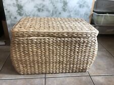 Toy Box Storage Chest Wicker Hamper Cloth Lined with Lid Chest Washroom Home Dec