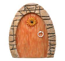 Miniature Gnome Hobbit Fairy Pixie Elf Door w/ Sunflower Enchanted Garden Home