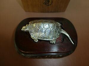 Rare Antique Solid Silver .970 Okimono Turtle Japanese Taisho Quality Handmade