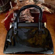 50s 60s Vintage Black Patent Shiny Vinyl Structured Purse Handbag Retro Goth