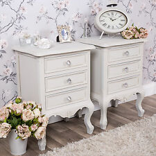 French Country Style Shabby Chic Bedside Table Bedroom Chest Cabinet 3 Drawers