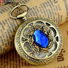 Retro Steampunk Necklace gem Pendant Quartz Pocket Gift Chain Watch Vintage New