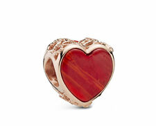 Genuine Rose Gold Red Heart With Leftover Murano Glass Pandora Charm ALE R Met