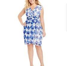 womens plus size dress 16W career dressy blue white print sleeveless