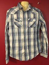 Aeropostale Men's White/Blue Plaid L/S Snap-front Shirt - Size Small - NWT$44.50