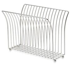 Satin Nickel Steel Magazine Holder Rack Storage Bathroom Book Organizer Stand