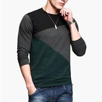 Men's Stitching Casual Dress Slim Fit T-shirt Long Sleeve V Neck Tee Shirts Tops