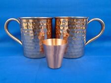 Melange 20 Oz Hammered Copper Mug for Moscow Mule Set of 2 with One Shot