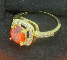 orange fire opal ring, gold over silver, size 6.5