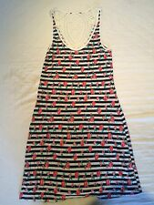 Ladies Stripey Summer Dress - Size 8 - Navy Stretch Party Beach Floral Strappy