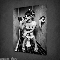 GIRL DRINKING IN THE TOILET NUDE WALL ART CANVAS PRINT PICTURE READY TO HANG