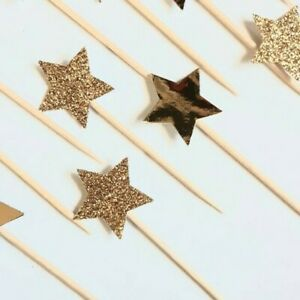 12 STAR CUPCAKE CAKE TOPPER PICKS - GOLD GLITTER AND MIRROR GOLD SINGLE SIDED
