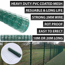 HEAVY DUTY 10M X 0.9M PVC GARDEN GREEN COATED STEEL BORSER WIRE MESH FENCE PANEL