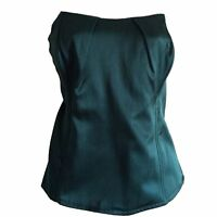 Ladies Jade Green Boned Fitted Corset Bustier Boob Tube Satin Feel Look Top