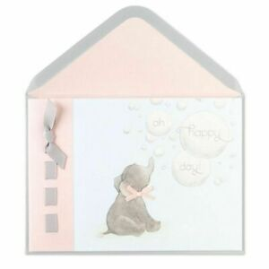 """Papyrus Card  New Baby  Baby Elephant """"Oh Happy Day"""" Grey & Pink Ribbons Glitter"""