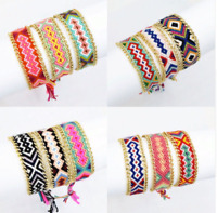 Friendship Bracelet Handmade Charm Woven Rope String Boho Embroidery Cotton