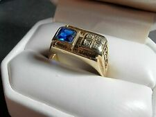 Engagement & Wedding Men's Statement Ring 14K Yellow Gold Plated 1.8 Ct Sapphire