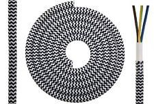 Textilkabel rund 3x0,75mm² schwarz-weiß zick-za Synthetik Textilleitung D0613