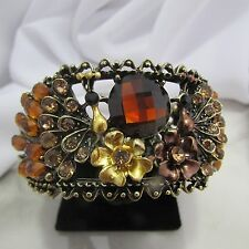Amber Gold Copper Color Handcrafted Rhinestone Cuff Bracelet
