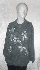 Giaminna Pullover grau mit Perlen verziert Langarm Stehkragen Größe XL