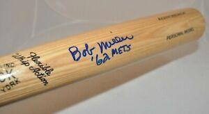 Bob Miller 1962 New York Mets Signed Autographed Adirondack Baseball Bat COA