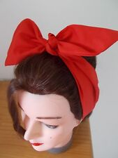 HEAD SCARF HAIR BAND RED SELF TIE BOW  NECK ROCKABILLY SWING PIN UP 50s RETRO