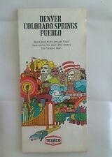 1973 Texaco Denver Colorado Springs Pueblo Map