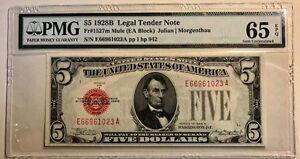 USA - Legal Tender Note - $5 - 1928B - MULE - Fr-1527m - PMG 65 EPQ - GEM Unc.
