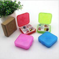 Health Medicine Case Medical Pill Holder Box Portable 4 Slot Case Storage