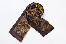 Long Silk Scarf for Men Brown Color Paisley Print SFM016