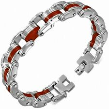 Man Bracelet Steel Silver and Rubber Red