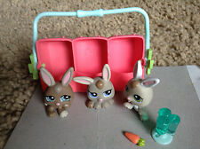 3 Littlest Pet Shop bunny rabbits Triplets w/ Carrier # 1332, 1331,1334 rare LPS