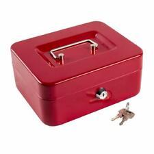 Cash Drawer Box Money Tray Case Travel Storage Lock Safe w/ Key Red Medium NEW