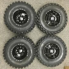 4 NEW Kawasaki KFX450R KFX400 BLACK ITP SS112 Rims & Slasher Tires Wheels kit