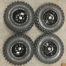 4 NEW SUZUKI LTZ250 LTZ400 450R BLACK ITP SS112 Rims & Slasher Tires Wheels kit