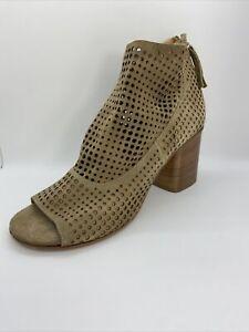 Halmanera Tan Perforated Stacked Heel Open Toe Zip Ankle Booties Size 41