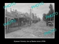 OLD LARGE HISTORICAL PHOTO OF SEYMOUR VICTORIA, VIEW OF THE STATION St c1930s