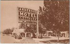 MERCED, CA California    ANDERSON MOTEL & Cottages  c1930s Car Roadside Postcard