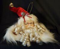 """Santa Head Tree Ornament Porcelain Red Velvet Curly Beard 12"""""""
