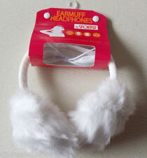 White Faux Fur Ear muff  Warmers Headphones Compatible MP3 Smartphone Laptop