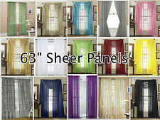 """2-Piece Sheer Voile Window Treatment Curtain Short Panel 63"""" Long Solid Colors"""