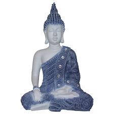 1pce 40cm Blue Willow Rulai Buddha Statue, Meditating