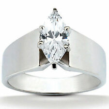 1.1 carat Marquise Cut Diamond Solitaire Wedding 14K White Gold Ring, G SI2