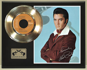 """Elvis Presley """"Burning Love"""" Reproduction Signed Record Display Wood Plaque"""