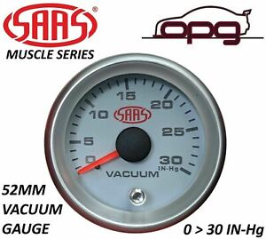 SAAS Vacuum 52mm 2in 0 > 30 in HG Analog Gauge White Face Silver Rim 4 Colour