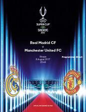 SUPER CUP 2017 MAN UTD v REAL MADRID MINT PROGRAMME MANCHESTER