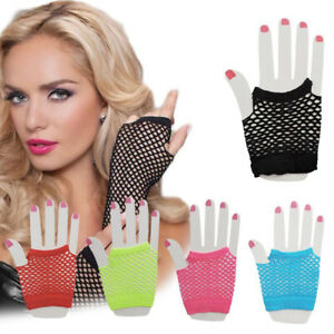 Fishnet Fingerless Gloves Mesh Net Sexy Lace Gloves Fancy Costume Party Dress 1x