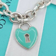Rare Genuine Tiffany & Co Large Silver Blue Enamel Heart Charm Pendant Bracelet