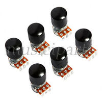 6 Pcs Guitar Potentiometer Metal Dome Knob and B500K Volume Pots Parts Black