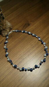 Neu unikat blau hellblau Polariskette bunt Halskette Polaris perlen kette